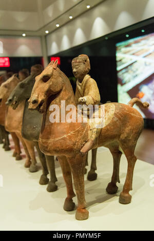 Liverpool William Brown Street World Museum China's First Emperor & The Terracotta Warriors Exhibition small soldiers on horseback - Stock Image