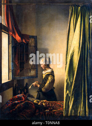 Johannes Vermeer, Girl Reading a Letter at an Open Window, portrait painting, c. 1659 - Stock Image
