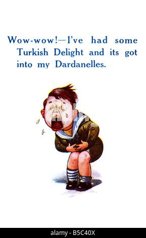 First World War comic Art Postcard referring to the Dardanelles campaign EDITORIAL USE ONLY - Stock Image