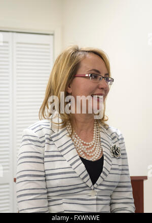 Garden City, New York, USA. 17th April 2016. GABBY GIFFORDS, former United States Congresswoman spoke about the - Stock Image