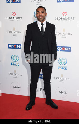London, UK. 08th Apr, 2019. LONDON, UK. April 08, 2019: Calum Wilson arriving for the Football for Peace initiative dinner by Global Gift Foundation at the Corinthia Hotel, London. Picture: Steve Vas/Featureflash Credit: Paul Smith/Alamy Live News - Stock Image