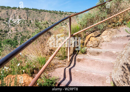 Los Alamos park with steps on Main Loop trail path in Bandelier National Monument in New Mexico - Stock Image