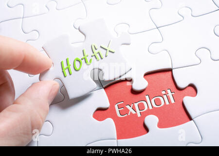 The Words Hotfix And Exploit In Missing Piece Jigsaw Puzzle - Stock Image