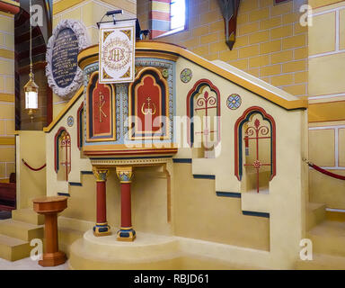 Koenigslutter, Germany, January 3., 2019: Pulpit for the sermons of the clergyman in the cathedral of Königslutter, detail photo of the interior of th - Stock Image