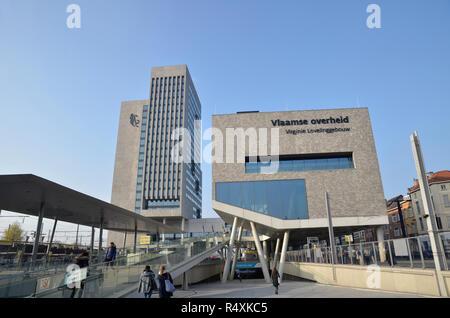 The Vlaamse overheid building in Ghent, Belgium - Stock Image