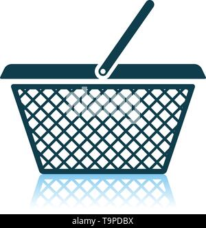 Shopping Basket Icon. Shadow Reflection Design. Vector Illustration. - Stock Image