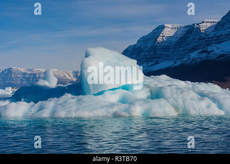 Greenland, Scoresby Sund, Gasefjord. Chunk of ice on top of an iceberg. - Stock Image