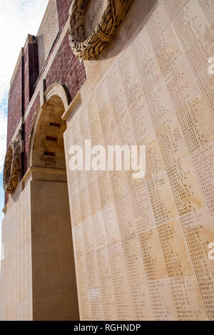 Wall of names on the Thiepval Monument in Northern France - Stock Image