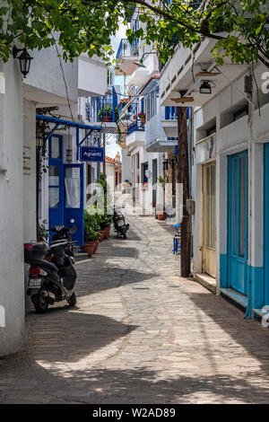 A Street in Glossa Village, Skopelos, Northern Sporades Greece. - Stock Image