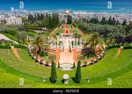 View Over The Bahai Gardens And Port In The Background In Haifa, Israel, Middle East - Stock Image