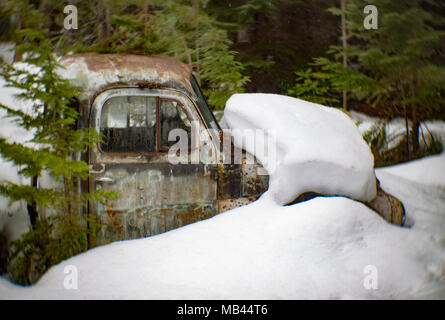 The cab of an old, 1950 Dodge pickup truck partially buried in deep snow, in a wooded area, behind a barn, in Noxon, Montana, USA.  This image was sho - Stock Image