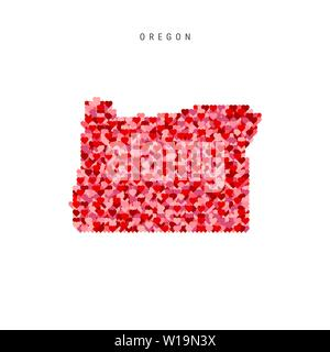I Love Oregon. Red Hearts Pattern Vector Map of Oregon - Stock Image