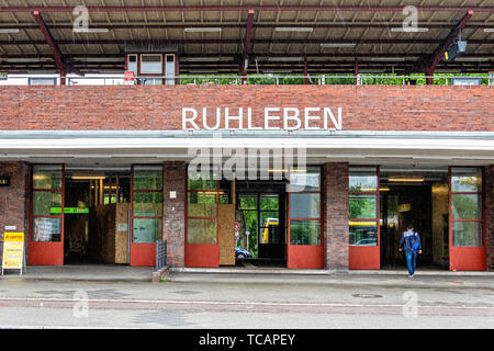 U-Bahn Ruhleben underground railway station is the western terminus of the U 2 line in Westend district, Berlin. Station exterior The elevated station - Stock Image