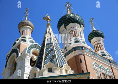 The Russian Orthodox Church (Cathedral) Of Saint Nicholas In Nice On The French Riviera, France, Europe - Stock Image