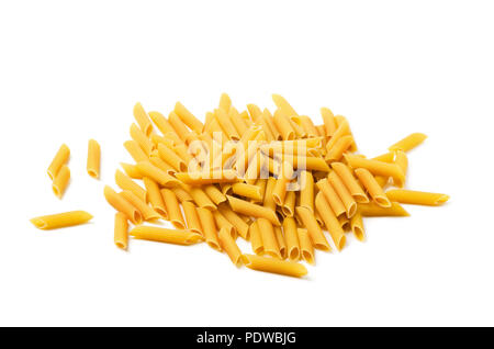 Dry raw penne rigate pasta isolated on white background - Stock Image