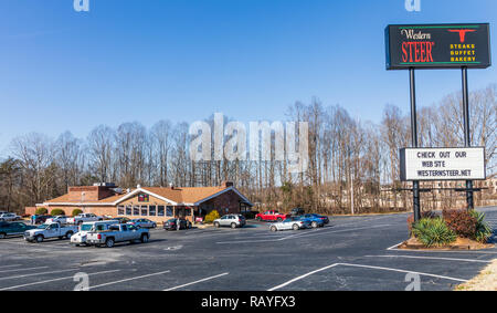 NEWTON, NC, USA-12/26/18: Western Steer is a local buffet sercing steaks, chicken, seafood & sandwiches. - Stock Image
