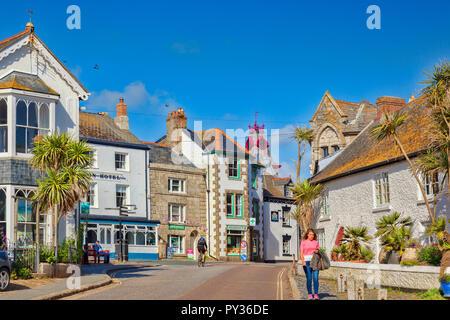 14 June 2018: Marazion, Cornwall, UK - The village in summer. - Stock Image