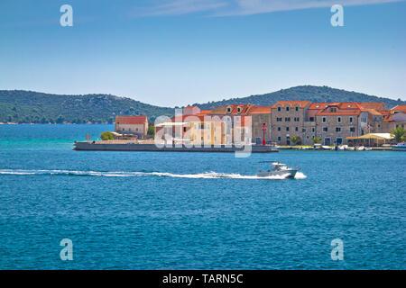 Island of Krapanj waterfront view, Sibenik archipelago of Croatia - Stock Image