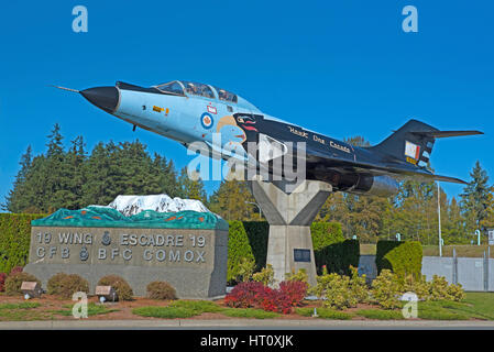 McDonnell F-101 Voodoo Skyhawk one, Gate Guard at Comox Air Station Vancouver Island, BC. Canada. - Stock Image