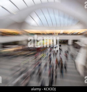 Interior of Grand central rail station with zoom in movement, Birmingham UK - Stock Image