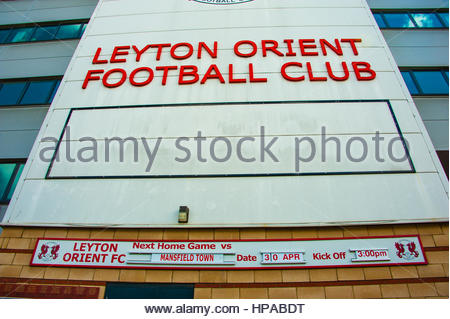 Leyton Orient Football Football club and  stadium facade in Leyton, London, UK Europe - Stock Image