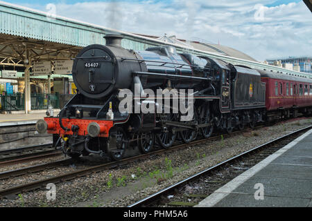 Preserved steam locomotive 'The Lancashire fusiliers' No 45407 at Bristol Temple meads with a special summer excursion. - Stock Image
