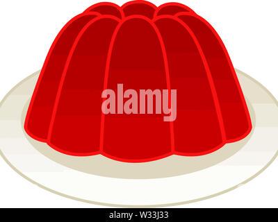 jelly dessert red strawberry tasty illustration fresh cool - Stock Image