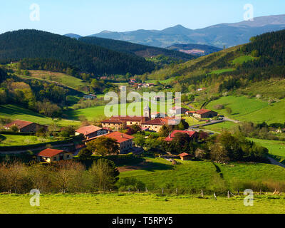 Beautiful view of Arrazola village in Atxondo, Basque Country - Stock Image