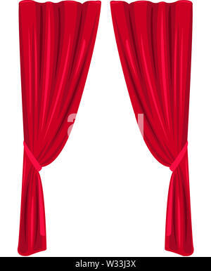 red curtain theater stage classic interior illustration - Stock Image