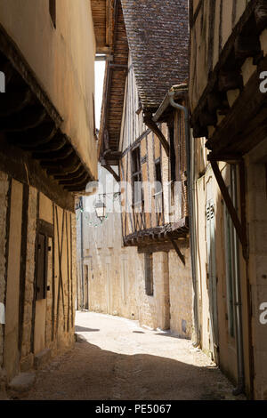 Old medieval houses and narrow streets, Issigeac bastide town, Dordogne, France europe - Stock Image