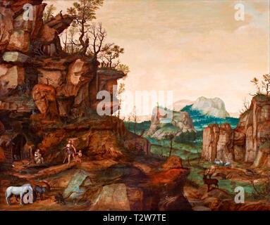 Cornelis van Dalem, Landscape with Adam and Eve, painting, c. 1559 - Stock Image