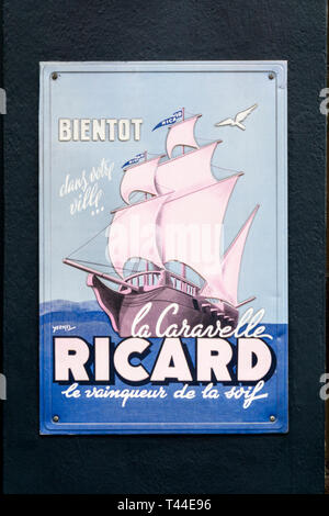 A metal advertising sign for Ricard - Stock Image