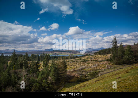 View from Gleann Dubh reservoir, Barcaldine, Scotland. - Stock Image