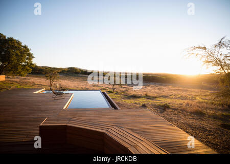 Empty pool during morning - Stock Image
