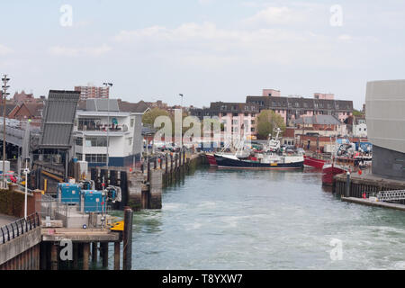 Portsmouth dock for Wightlink ferry - Stock Image