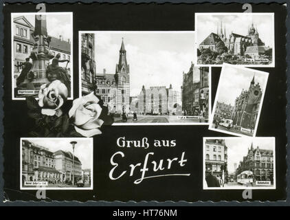 GERMANY - CIRCA 1966: A postcard printed in Germany, shows a cityscape of Erfurt, circa 1966 - Stock Image