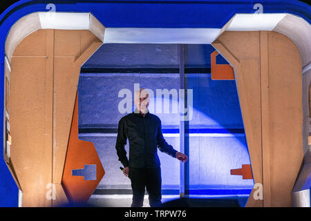 Bonn, Germany - June 8 2019: Anthony Daniels (*1946, English actor - C-3PO in Star Wars) entering the panel at FedCon 28, a four day sci-fi convention. FedCon 28 took place Jun 7-10 2019. - Stock Image