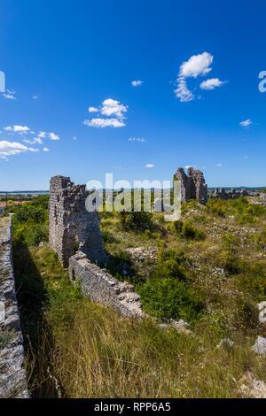 Stone building remains in Dalmatia Croatia - Stock Image