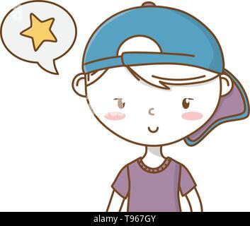 Stylish boy blushing cartoon outfit backwards cap speech bubble star portrait  vector illustration graphic design - Stock Image