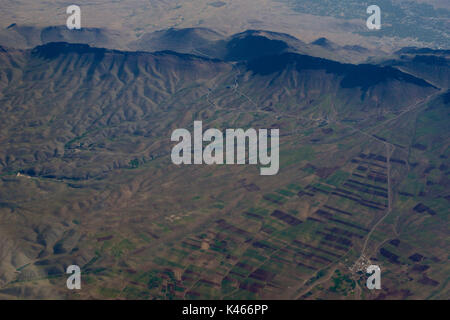 Iranian landscape from the air. Zagros mountains. Agriculture - Stock Image