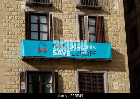 Help Catalonia Save Europe Sign In Barcelona In Support Of Catalan Independence - Stock Image