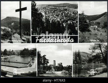 GERMANY - CIRCA 1962: A postcard printed in Germany, shows the landmarks of the town Friedrichroda, circa 1962 - Stock Image