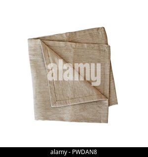 Folded linen napkin isolated over a white background with clipping path included. Image shot from overhead. - Stock Image