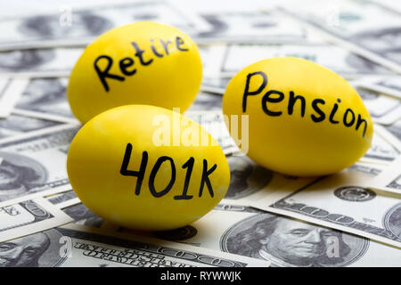 Pension And Retire Text On Yellow Eggs Over Hundred Dollar Note - Stock Image