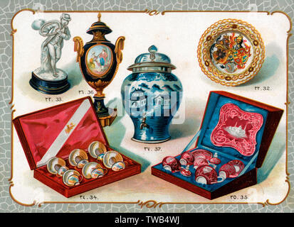 Catalogue illustration, Sevres ornaments, plate, tea and coffee sets, Chinese vase.  32. Ornate plate made in Berlin, with the imperial arms of the German Emperor and Empress in gold relief, donated by the German Emperor.  33. Sevres ornament, man playing hunting horn, donated by Monsieur Gabriel Hanotaux, French Foreign Minister.  34. Coffee set in enamelled gold, made in Turkey, donated by the Grand Vizier, Halil Rifat Pasha.  35. Porcelain tea set decorated with silver, made in Turkey, donated by Ali Riza Pasha, Minister of War.  36. Porcelain Sevres vase decorated with bronze gold, donated - Stock Image
