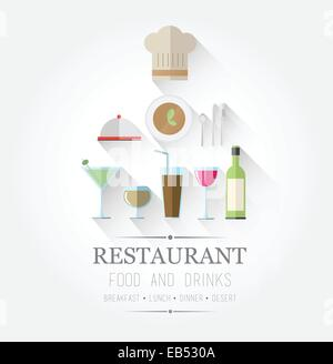 Food and drinks icons with text - Stock Image