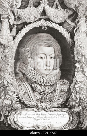 Infanta Maria Anna of Spain, 1606 – 1646.   Daughter of King Philip III of Spain and Margaret of Austria.  Holy Roman Empress and Queen of Hungary and Bohemia by marriage to Ferdinand III, Holy Roman Emperor. - Stock Image