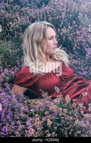 a woman is lying in blooming heather - Stock Image