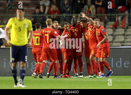 Belgium's Romelu Lukaku (9) celebrates scoring his side's second goal of the game with his team-mates during the UEFA Euro 2020 Qualifying, Group I match at the King Baudouin Stadium, Brussels. - Stock Image