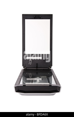 Flatbed scanner isolated on white background - Stock Image